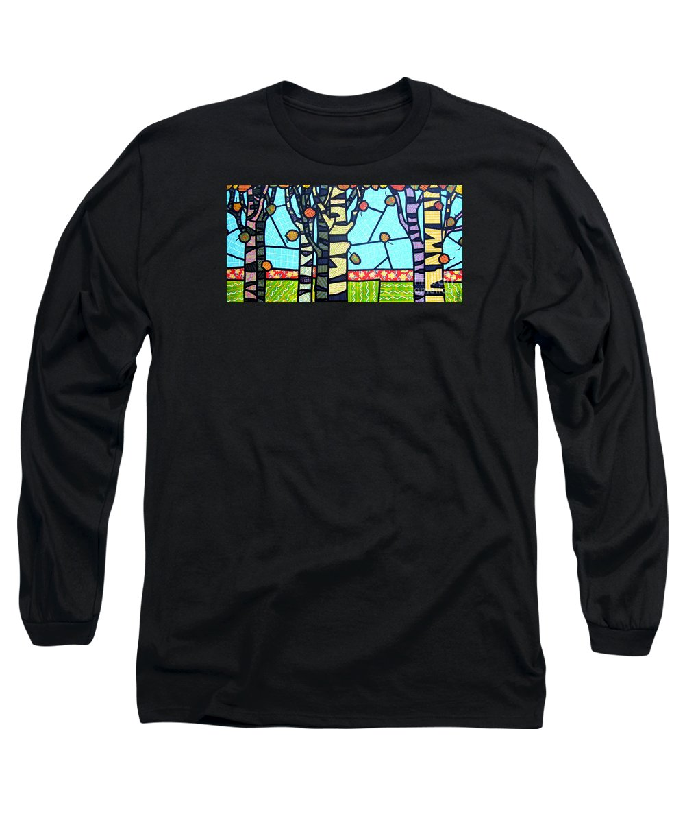 Birch Trees Long Sleeve T-Shirt featuring the painting Quilted Birch Garden by Jim Harris