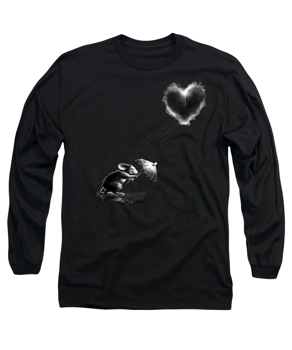 Mouse Long Sleeve T-Shirt featuring the digital art Rain And Sleet Day by Vanessa Bates