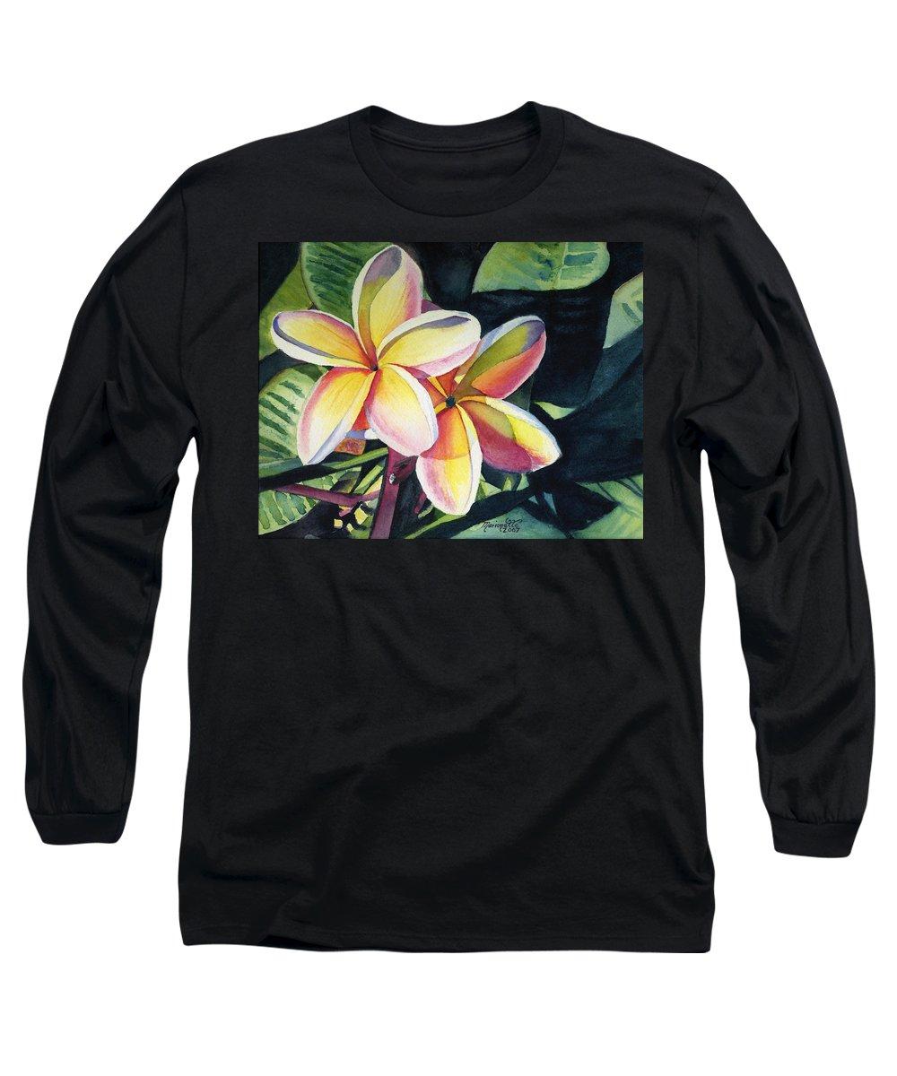 Rainbow Long Sleeve T-Shirt featuring the painting Rainbow Plumeria by Marionette Taboniar