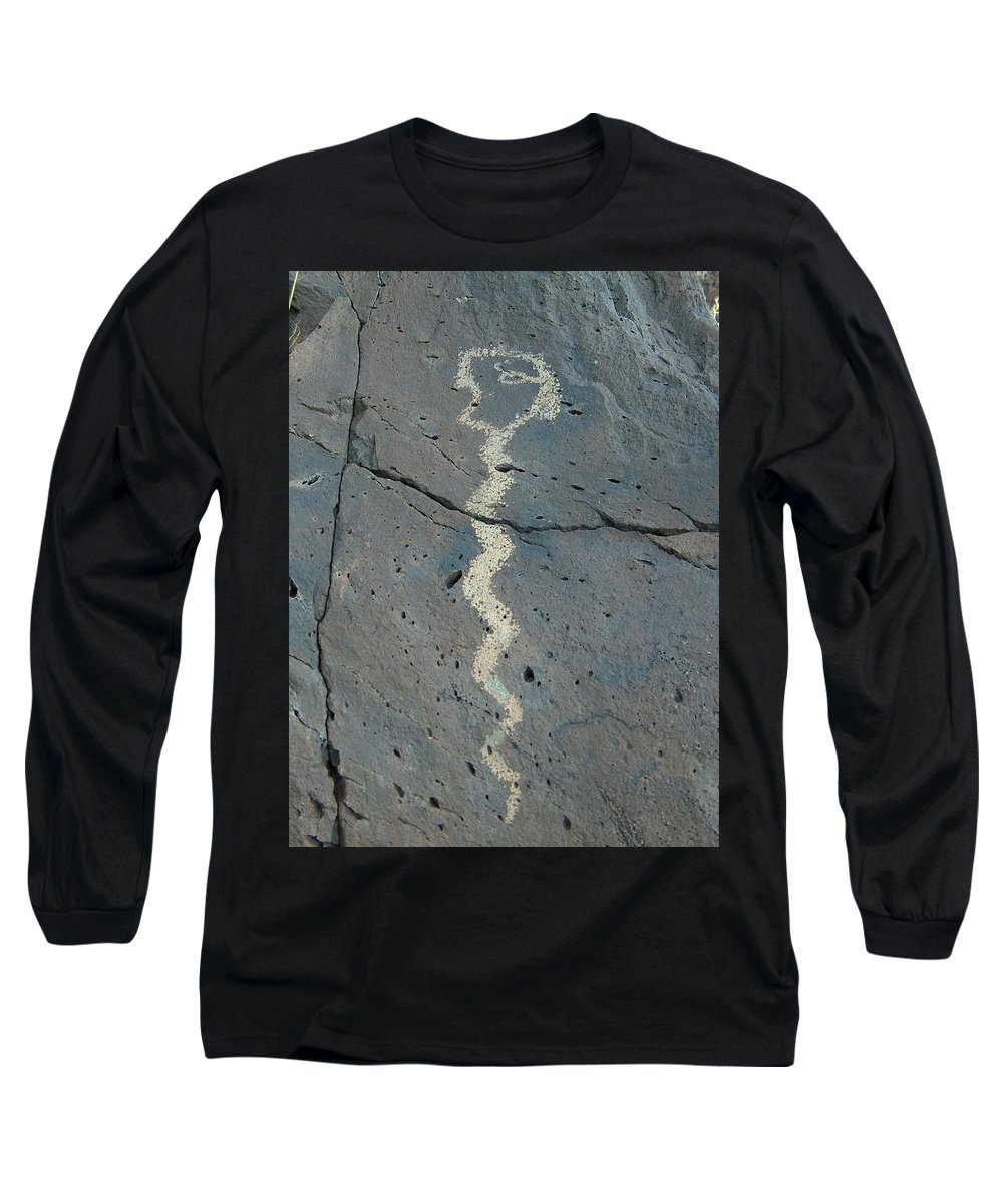 Rattlesnake Long Sleeve T-Shirt featuring the photograph Rattlesnake Petroglyph 2 by Tim McCarthy