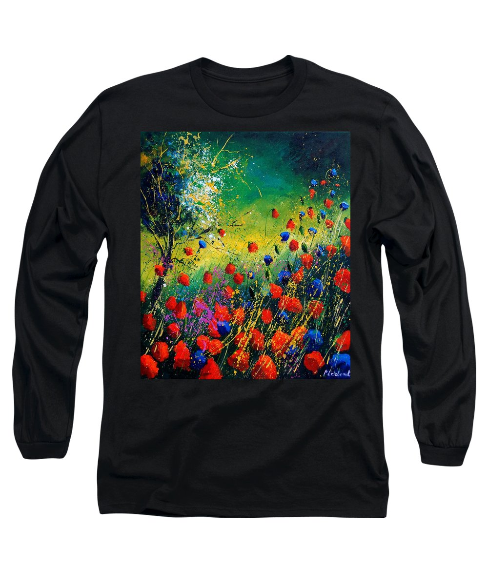 Flowers Long Sleeve T-Shirt featuring the painting Red And Blue Poppies by Pol Ledent