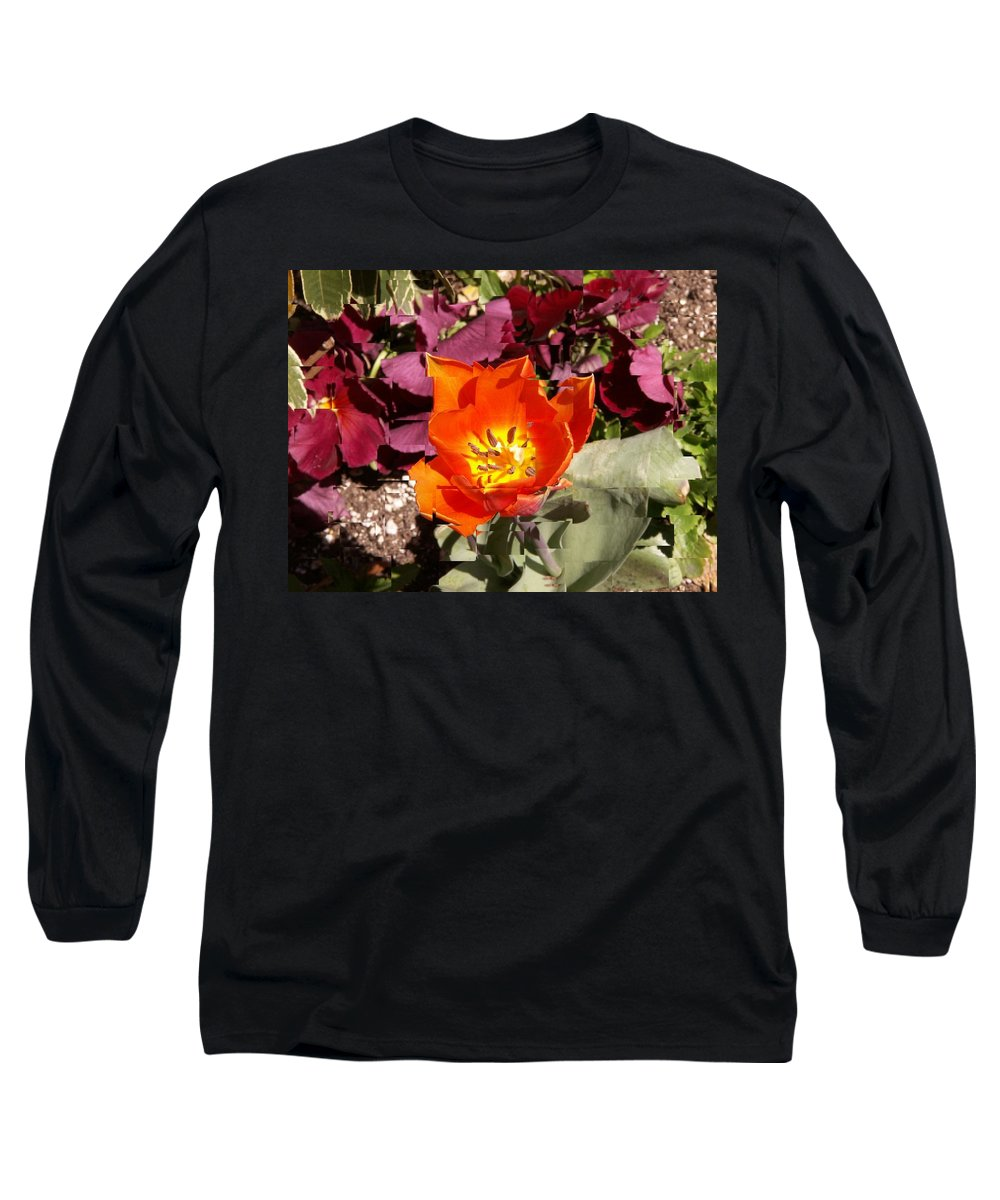 Flower Long Sleeve T-Shirt featuring the digital art Red And Yellow Flower by Tim Allen