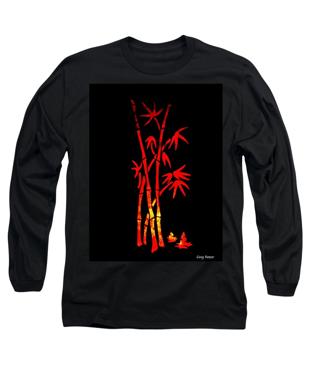 Patzer Long Sleeve T-Shirt featuring the photograph Red Bamboo by Greg Patzer