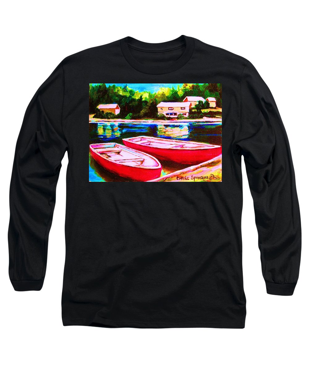 Red Boats Long Sleeve T-Shirt featuring the painting Red Boats At The Lake by Carole Spandau