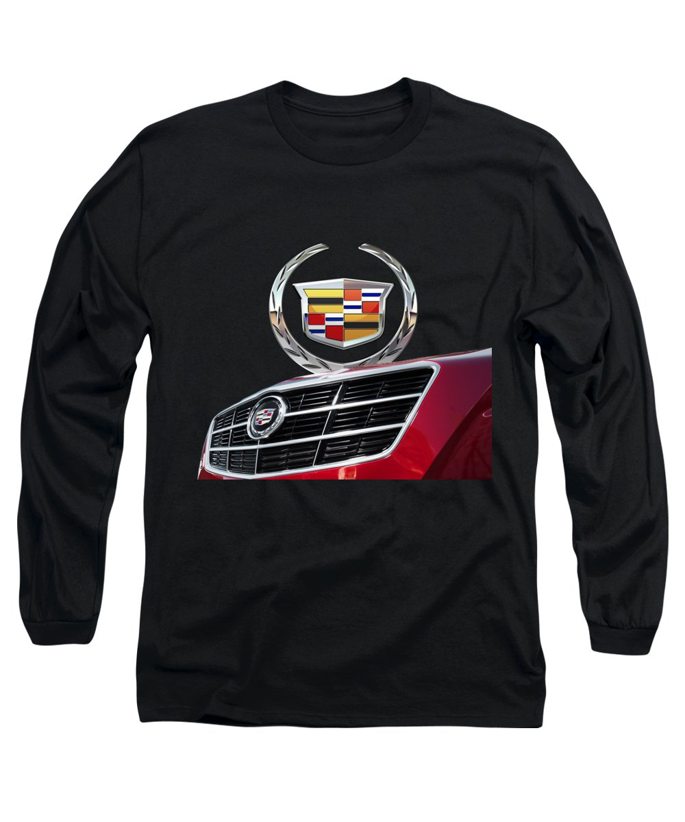 'auto Badges' By Serge Averbukh Long Sleeve T-Shirt featuring the photograph Red Cadillac C T S - Front Grill Ornament And 3d Badge On Black by Serge Averbukh