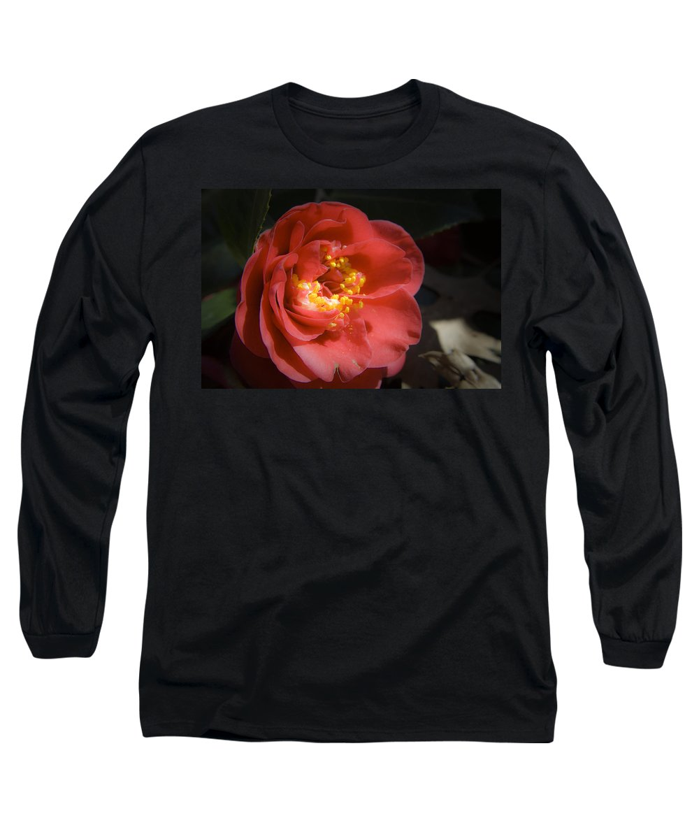 Camellia Long Sleeve T-Shirt featuring the photograph Red Camellia Bloom by Teresa Mucha