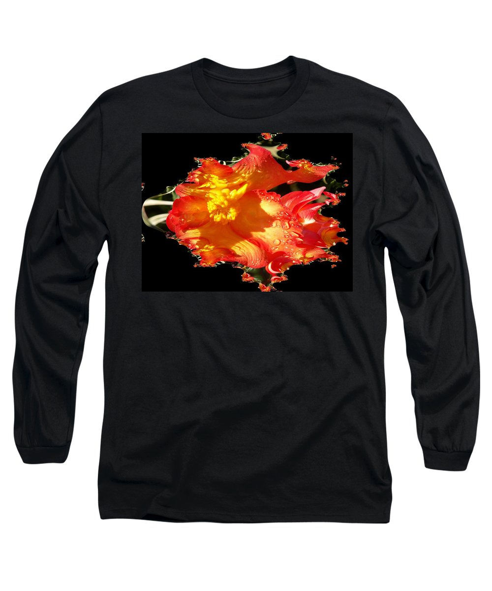 Flowers Long Sleeve T-Shirt featuring the digital art Red N Yellow Flowers by Tim Allen
