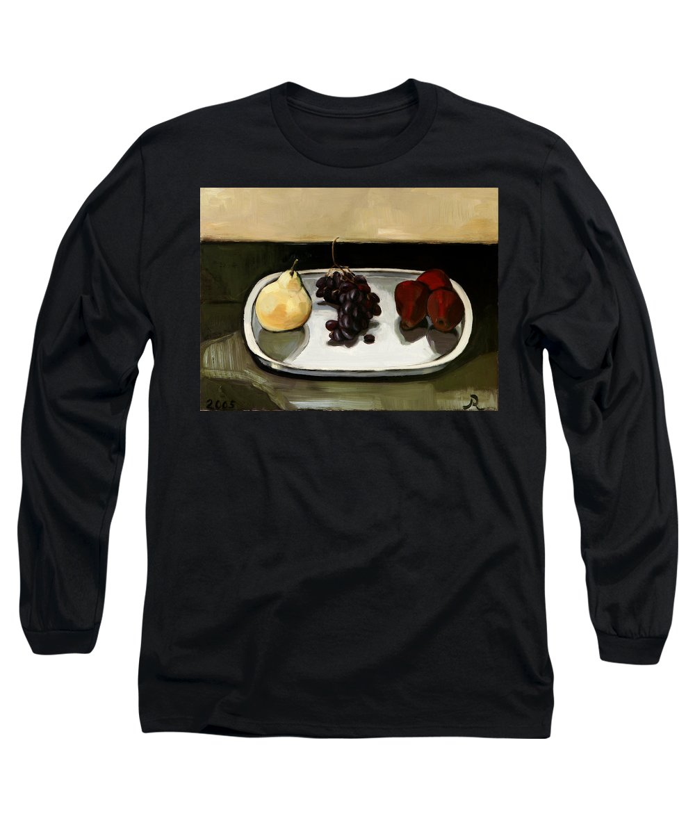 Still-life Grapes Pears Long Sleeve T-Shirt featuring the painting Red Pears by Raimonda Jatkeviciute-Kasparaviciene