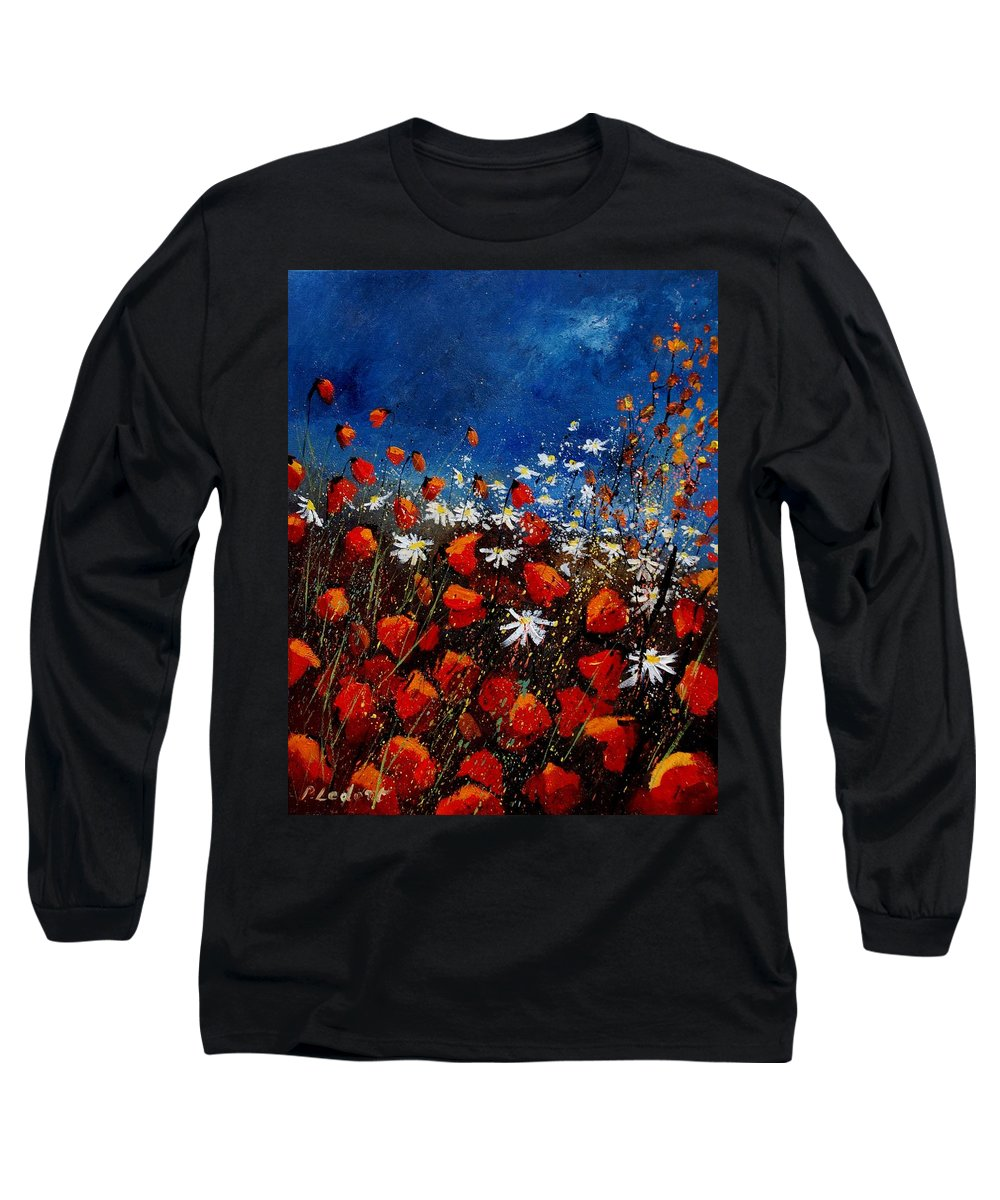 Flowers Long Sleeve T-Shirt featuring the painting Red Poppies 451108 by Pol Ledent