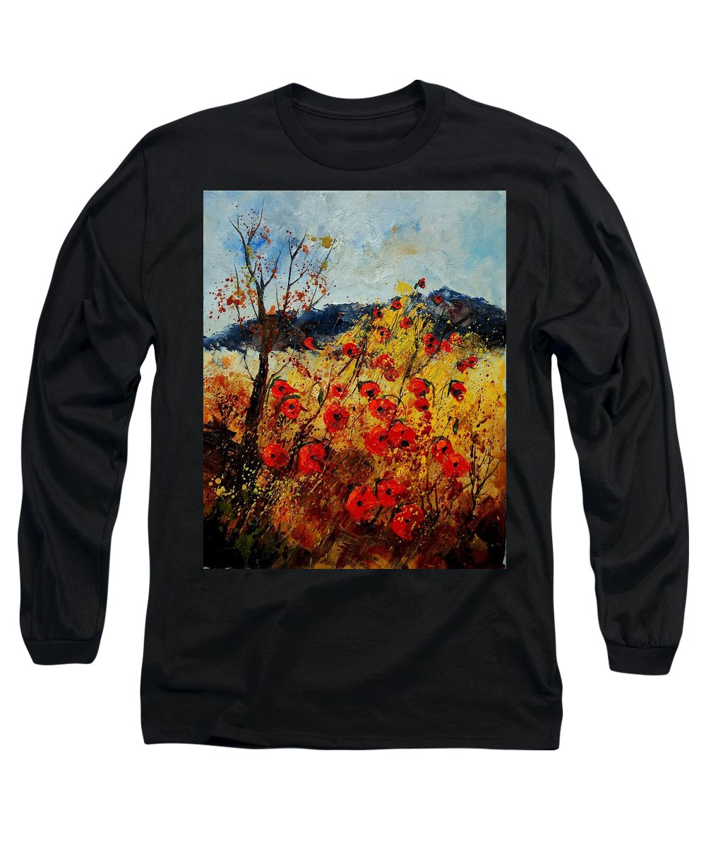 Poppies Long Sleeve T-Shirt featuring the painting Red Poppies In Provence by Pol Ledent