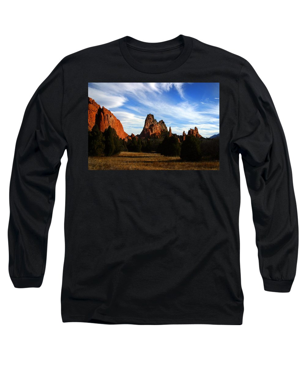 Garden Of The Gods Long Sleeve T-Shirt featuring the photograph Red Rock Formations by Anthony Jones