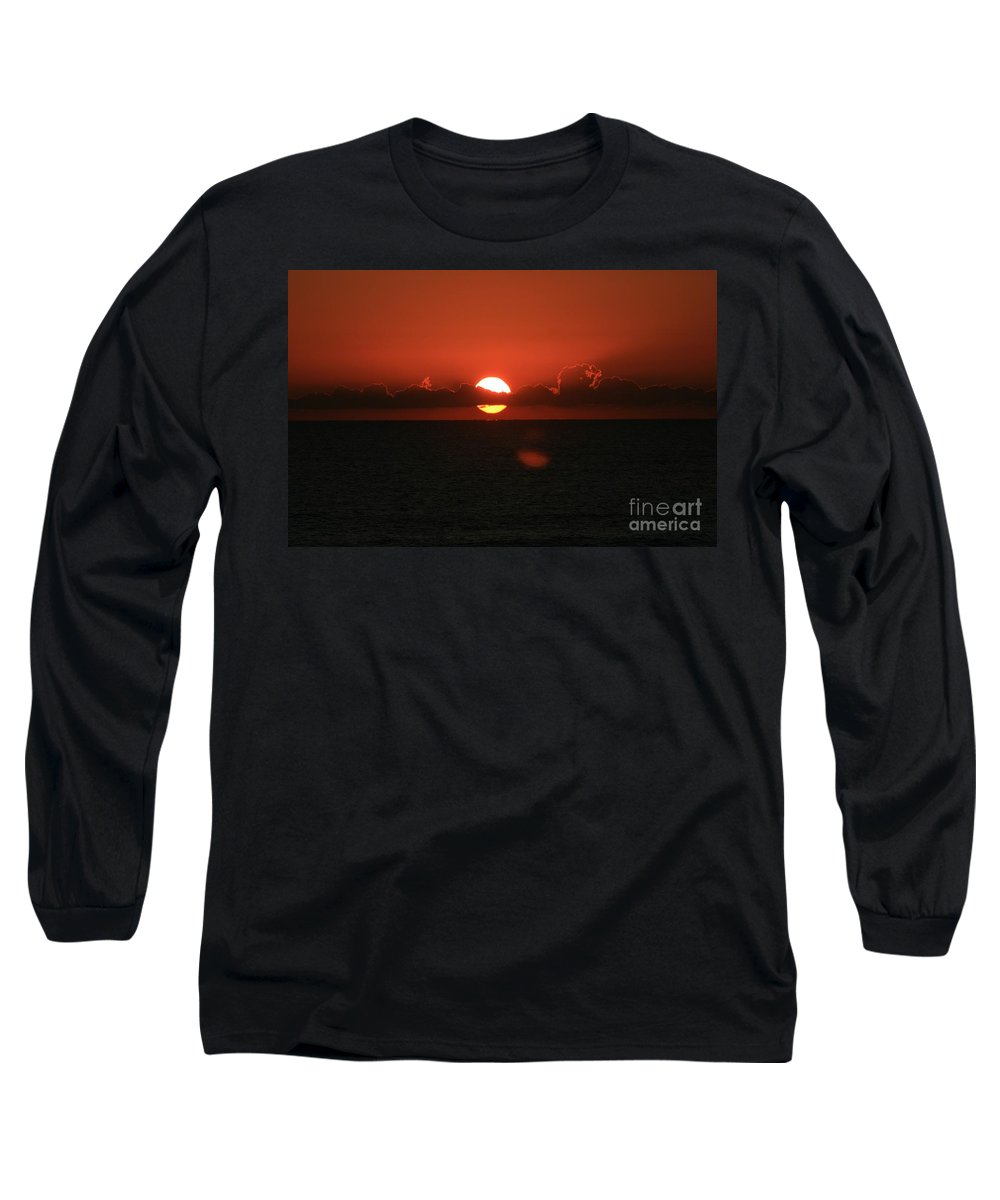 Sunset Long Sleeve T-Shirt featuring the photograph Red Sunset Over The Atlantic by Nadine Rippelmeyer