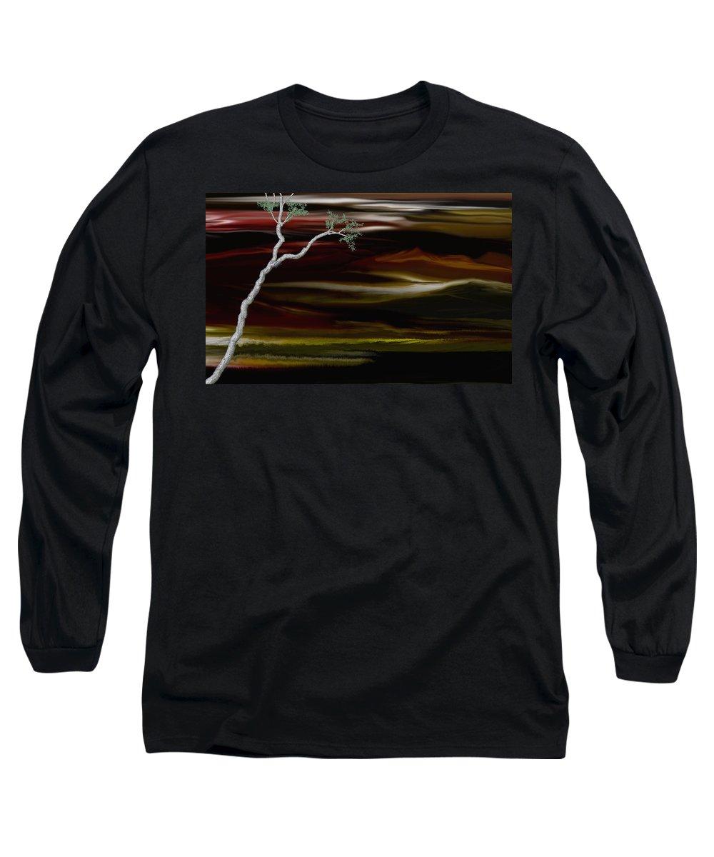 Digital Landscape Long Sleeve T-Shirt featuring the digital art Redscape by David Lane