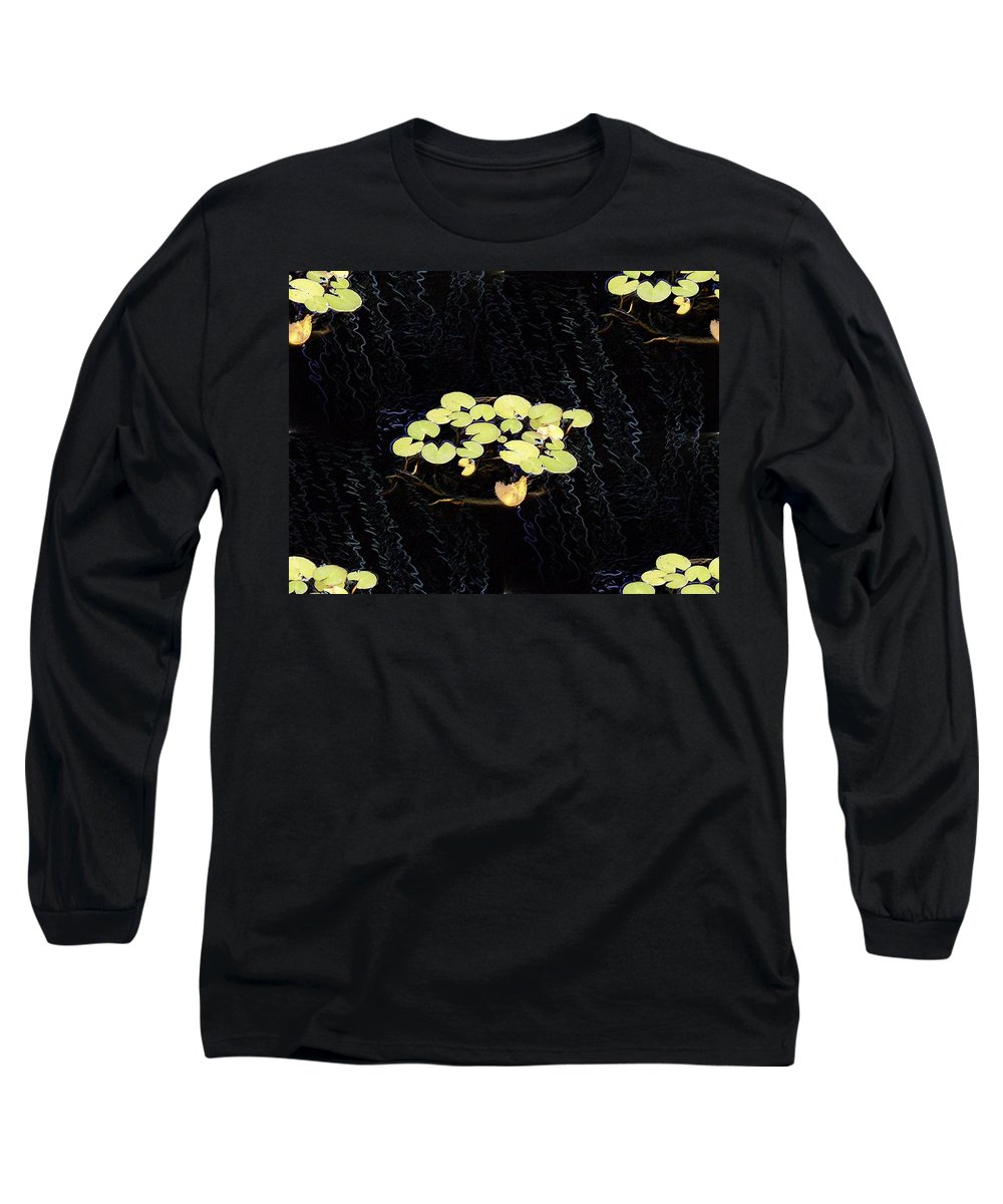 Lillies Long Sleeve T-Shirt featuring the digital art Reflecting Pool Lilies by Tim Allen
