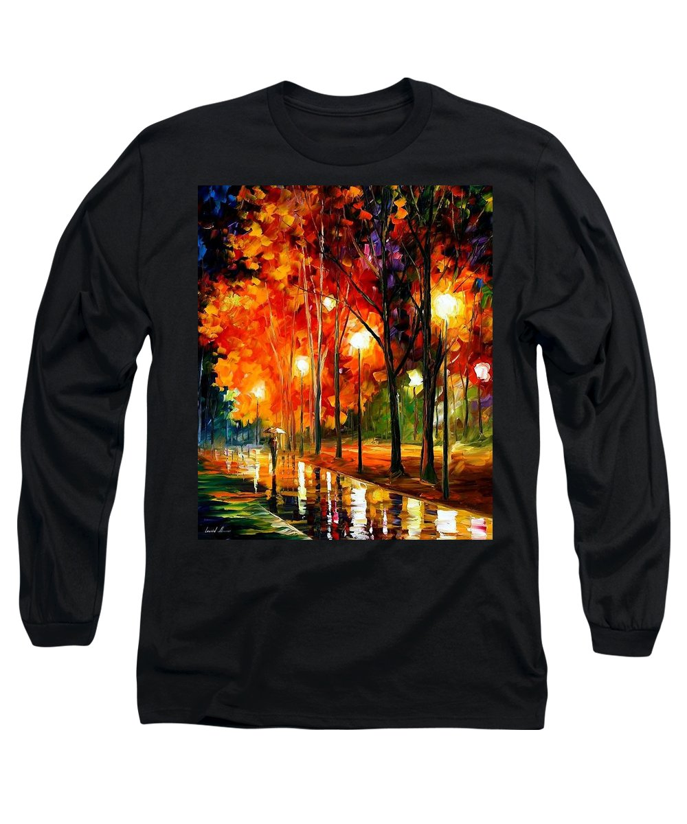 Landscape Long Sleeve T-Shirt featuring the painting Reflection Of The Night by Leonid Afremov