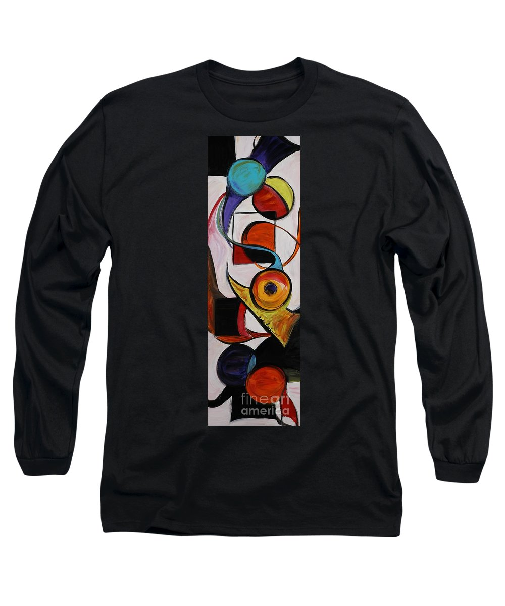 Shapes Long Sleeve T-Shirt featuring the painting Relationships by Nadine Rippelmeyer