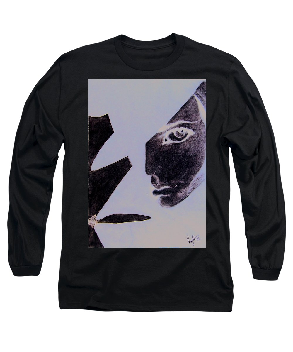 Black Long Sleeve T-Shirt featuring the pastel Revenge by Kayon Cox