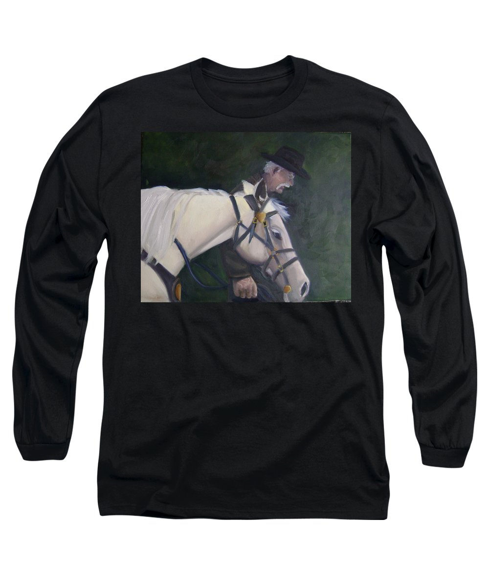 Old Man Horse... Long Sleeve T-Shirt featuring the painting revised- Man's Best Friend by Toni Berry