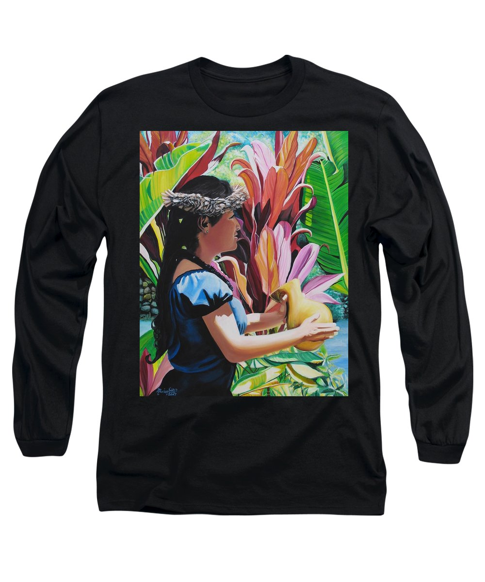 Rhythm Long Sleeve T-Shirt featuring the painting Rhythm Of The Hula by Marionette Taboniar