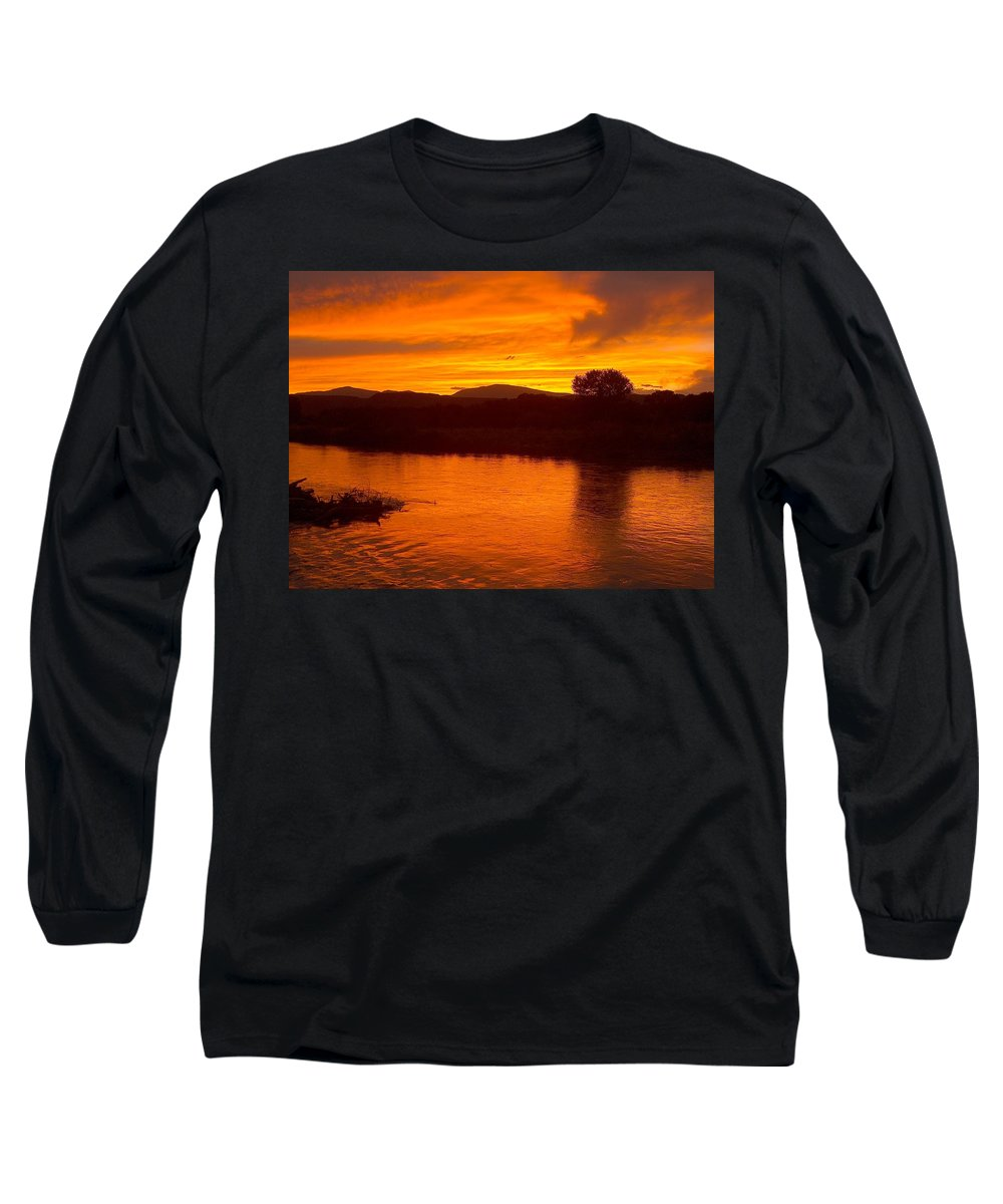Sunset Long Sleeve T-Shirt featuring the photograph Rio Grande Sunset by Tim McCarthy