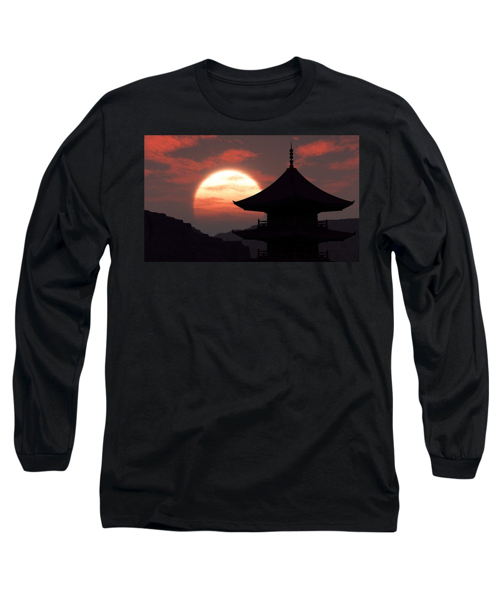 Oriental Long Sleeve T-Shirt featuring the digital art Rising Sun by Richard Rizzo