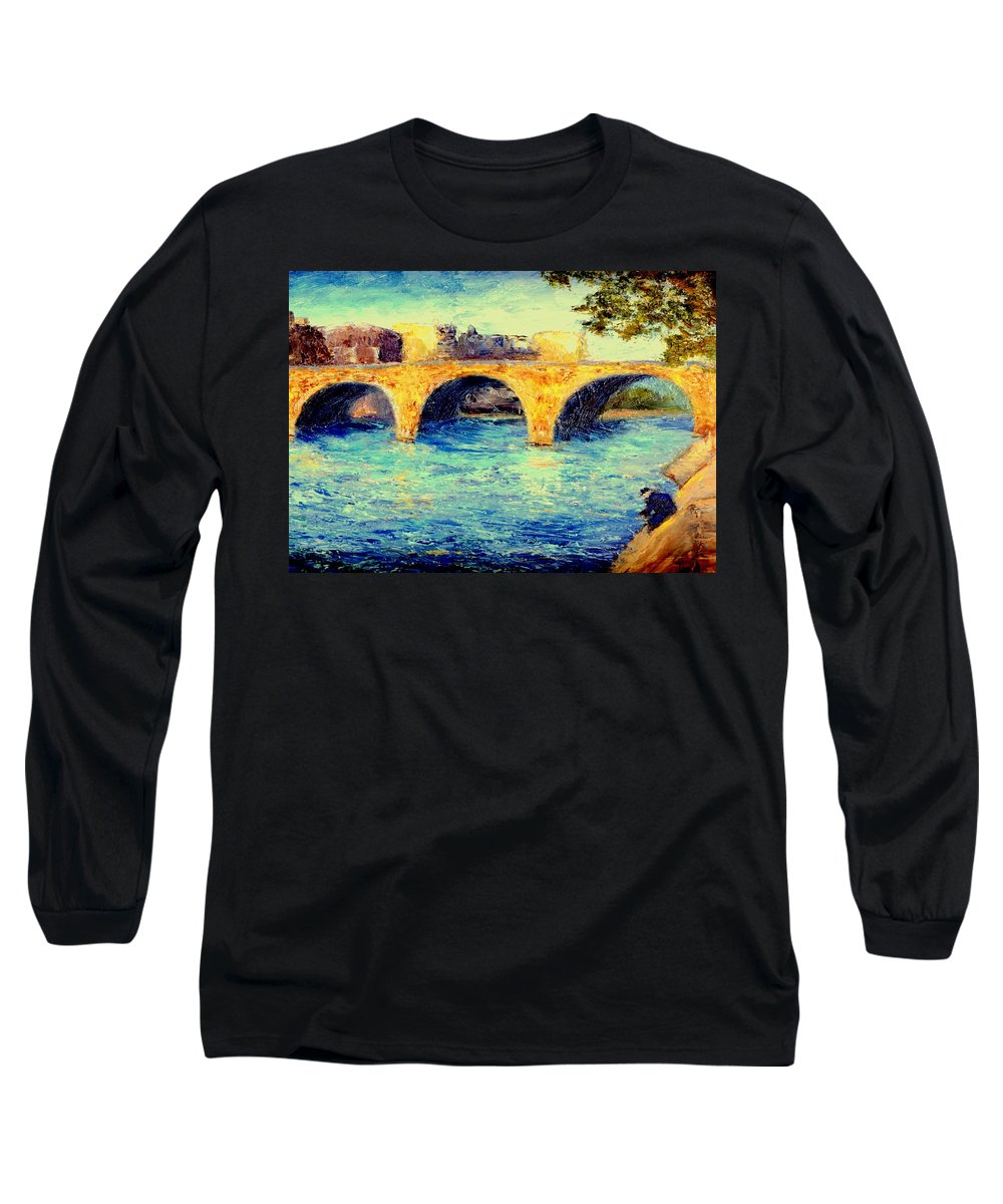 Impressionism Long Sleeve T-Shirt featuring the painting River Seine Bridge by Gail Kirtz