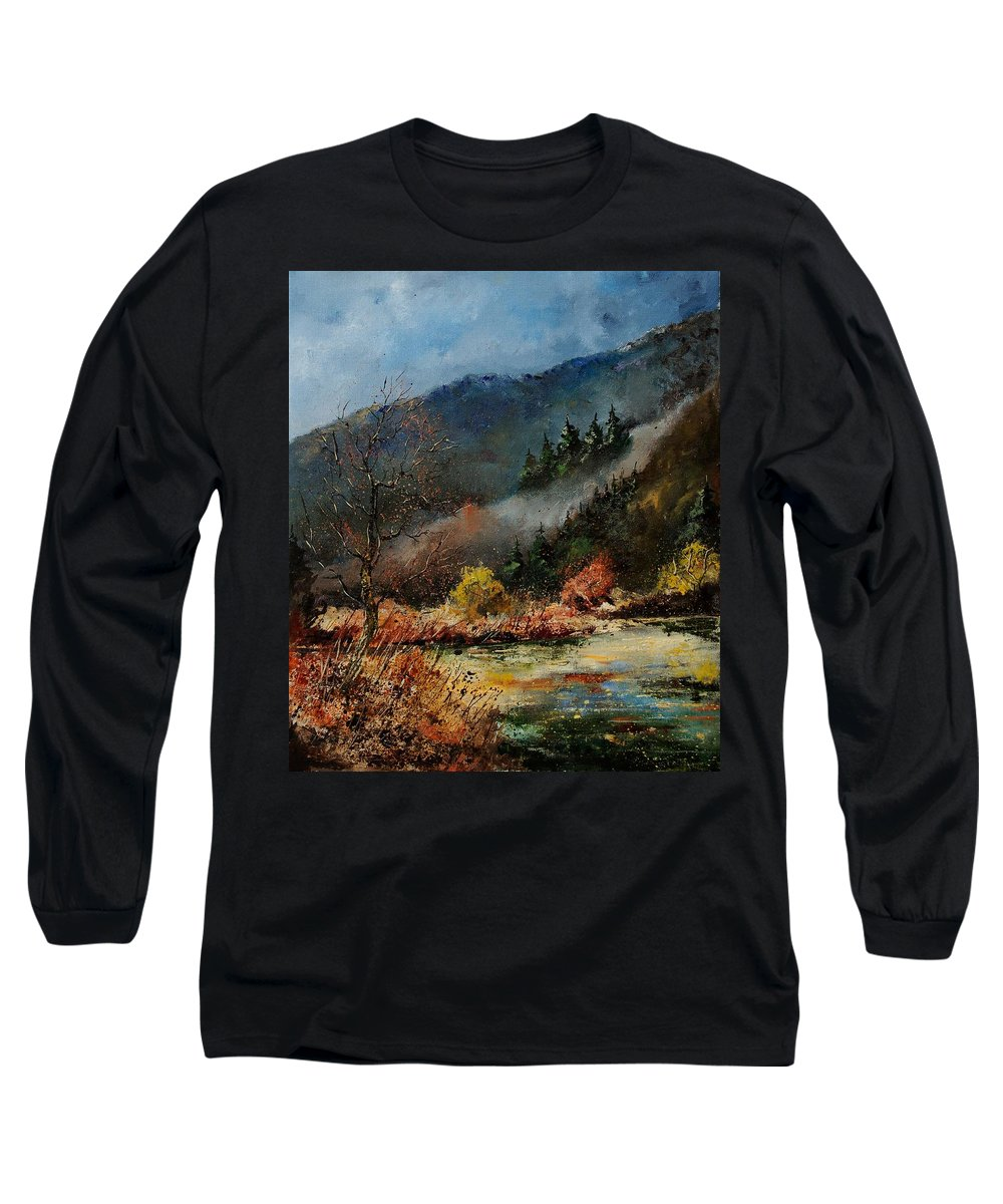 River Long Sleeve T-Shirt featuring the painting River Semois by Pol Ledent