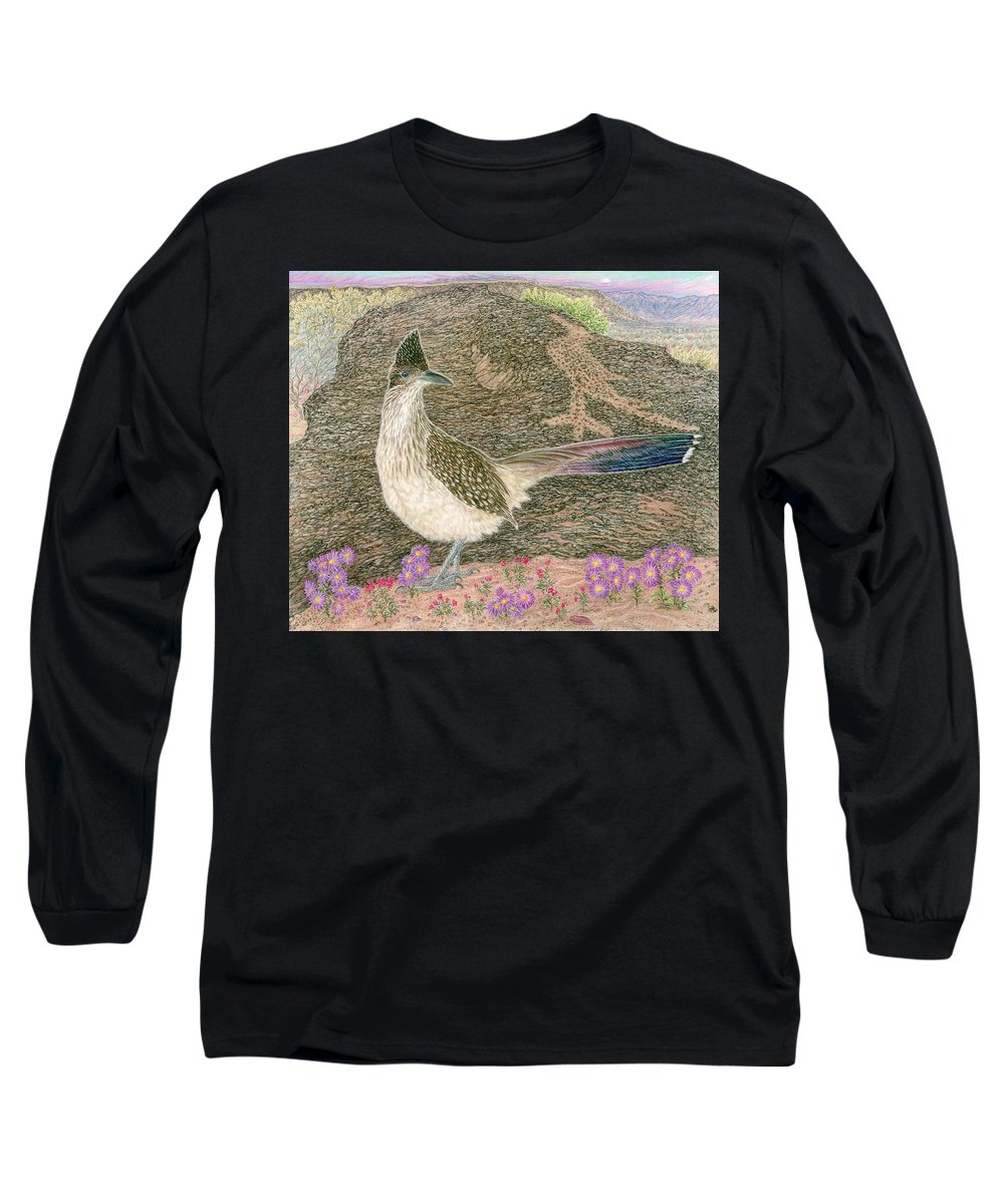 Roadrunner Long Sleeve T-Shirt featuring the drawing Roadrunner by Tim McCarthy