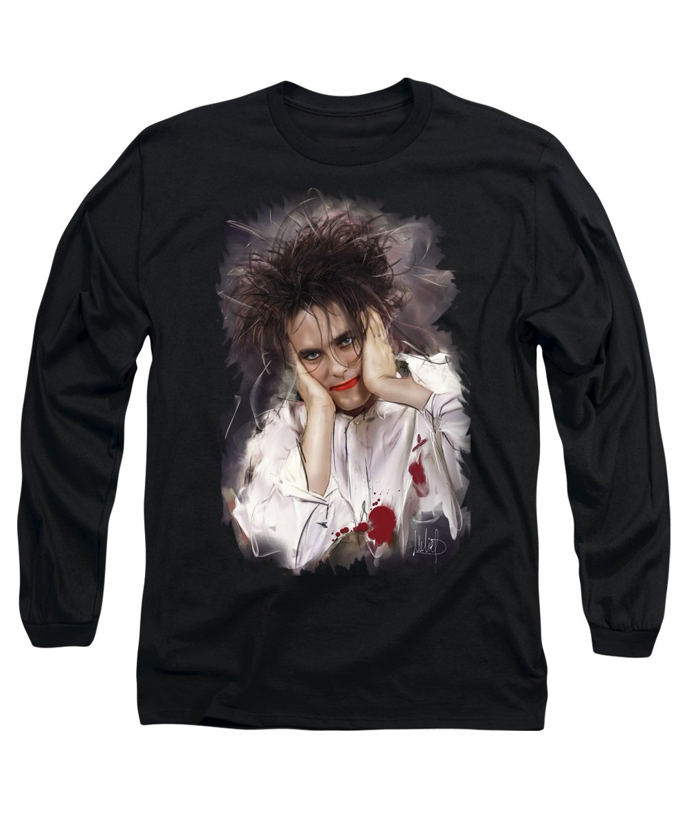Robert Smith Long Sleeve T-Shirt featuring the mixed media Robert Smith - The Cure by Melanie D