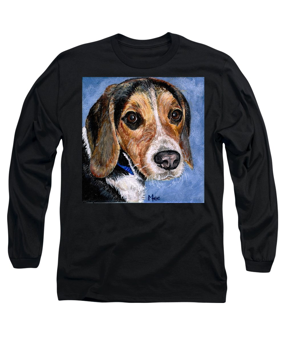 Dog Long Sleeve T-Shirt featuring the painting Rocky by Mary-Lee Sanders