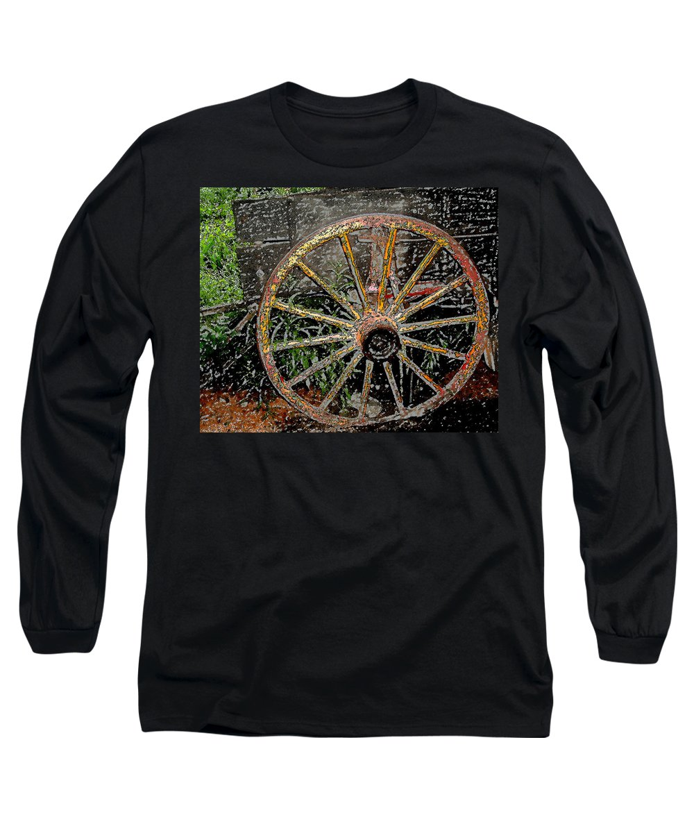 Wagon Wheel Long Sleeve T-Shirt featuring the photograph Rolling No More by Wayne Potrafka