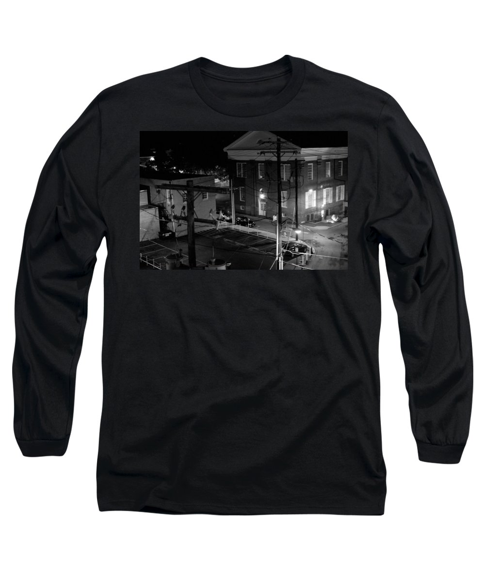 Black White Long Sleeve T-Shirt featuring the photograph Rooftop Court by Jean Macaluso