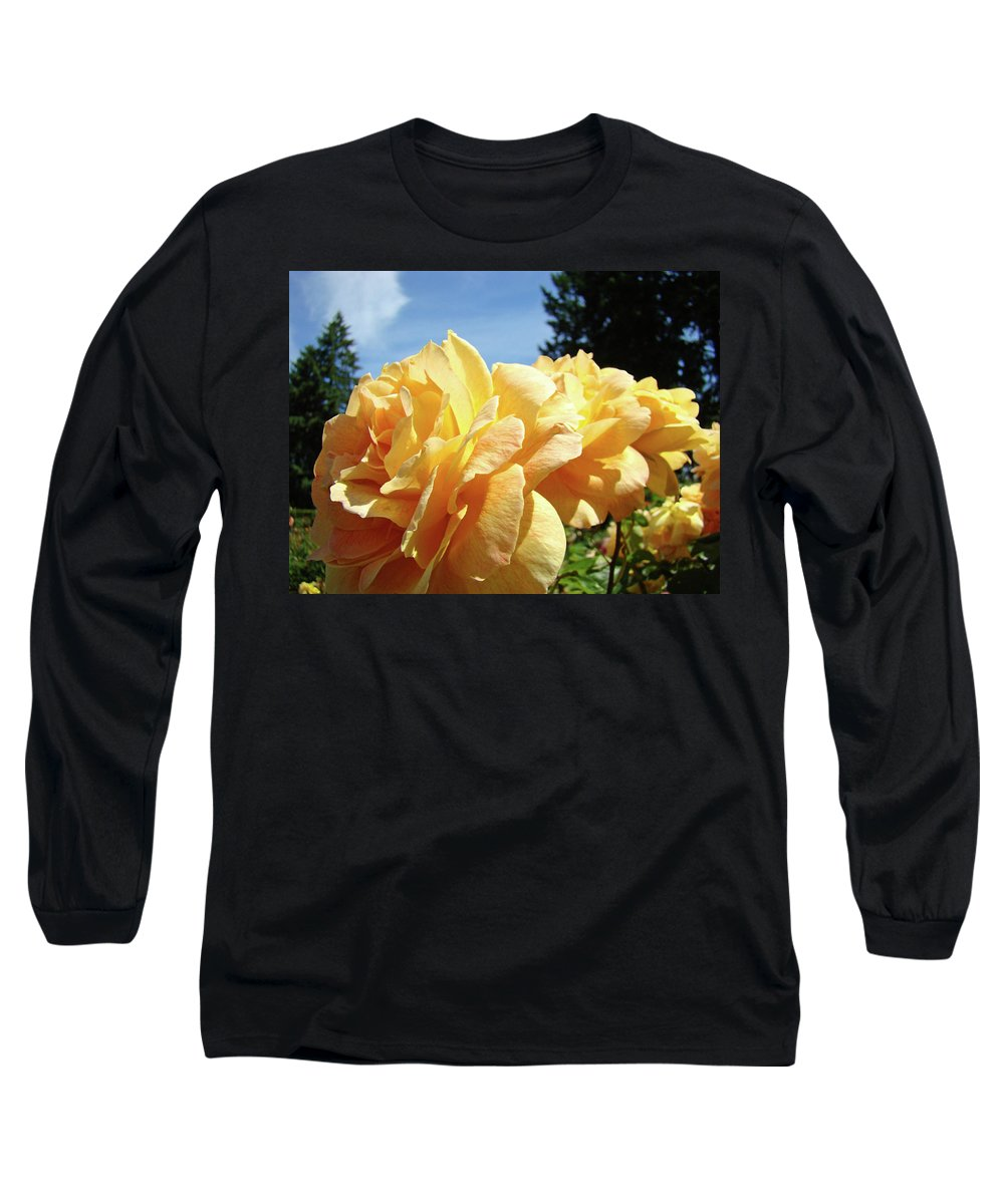 Rose Long Sleeve T-Shirt featuring the photograph Rose Garden Yellow Peach Orange Roses Flowers 3 Botanical Art Baslee Troutman by Baslee Troutman
