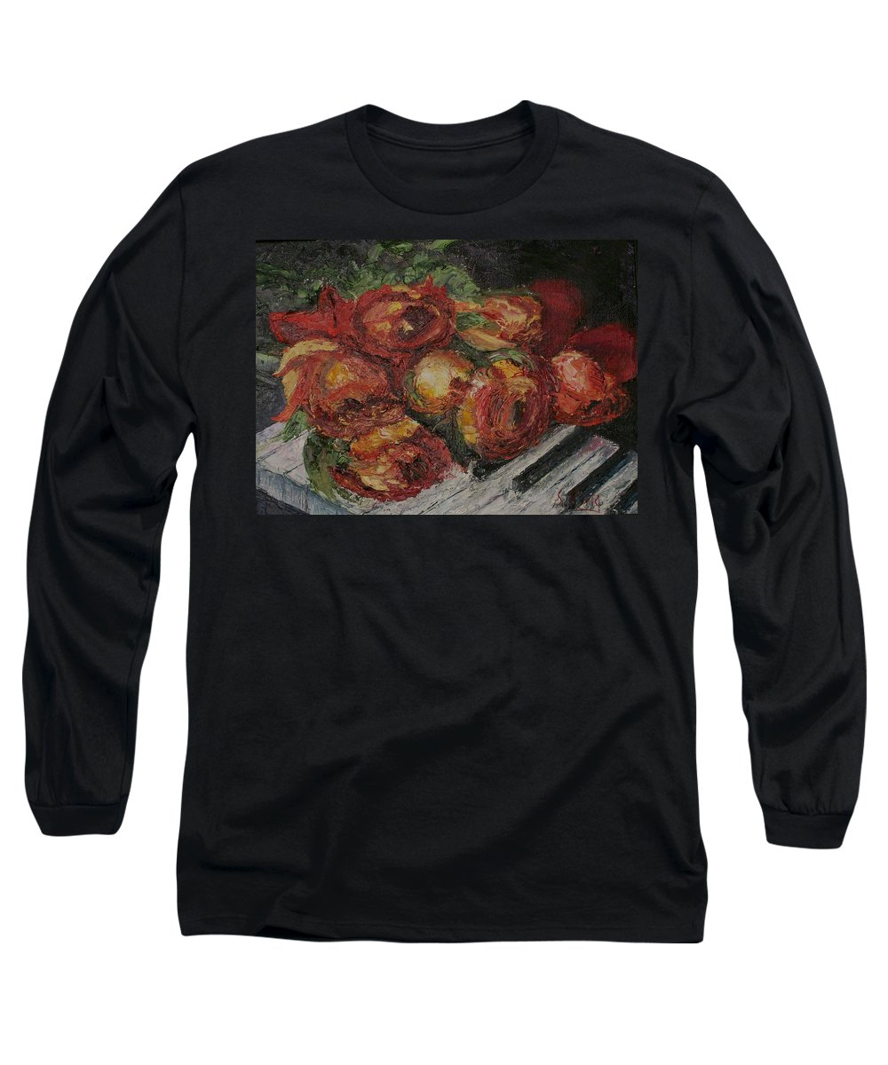 Still Life Long Sleeve T-Shirt featuring the painting Rose Melody by Stephen King