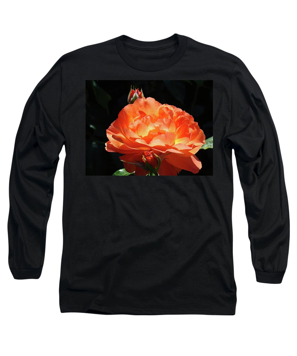 Rose Long Sleeve T-Shirt featuring the photograph Roses Orange Rose Flowers Rose Garden Art Baslee Troutman by Baslee Troutman
