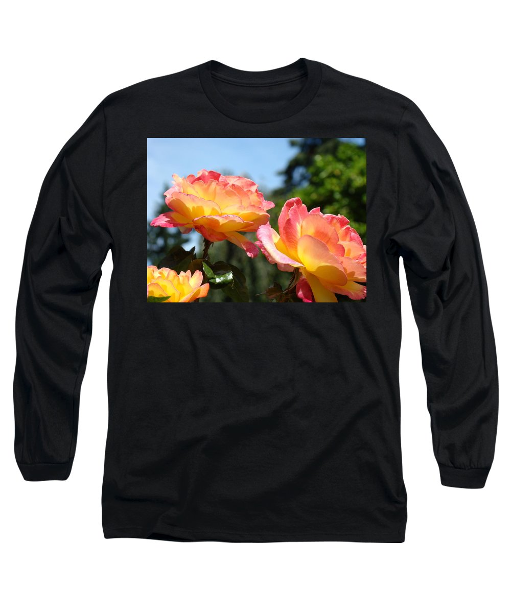 Rose Long Sleeve T-Shirt featuring the photograph Roses Yellow Roses Pink Summer Roses 4 Blue Sky Landscape Baslee Troutman by Baslee Troutman