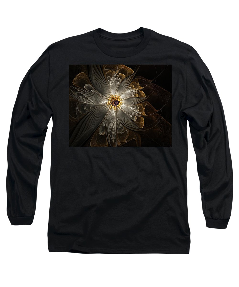 Digital Art Long Sleeve T-Shirt featuring the digital art Rosette In Gold And Silver by Amanda Moore