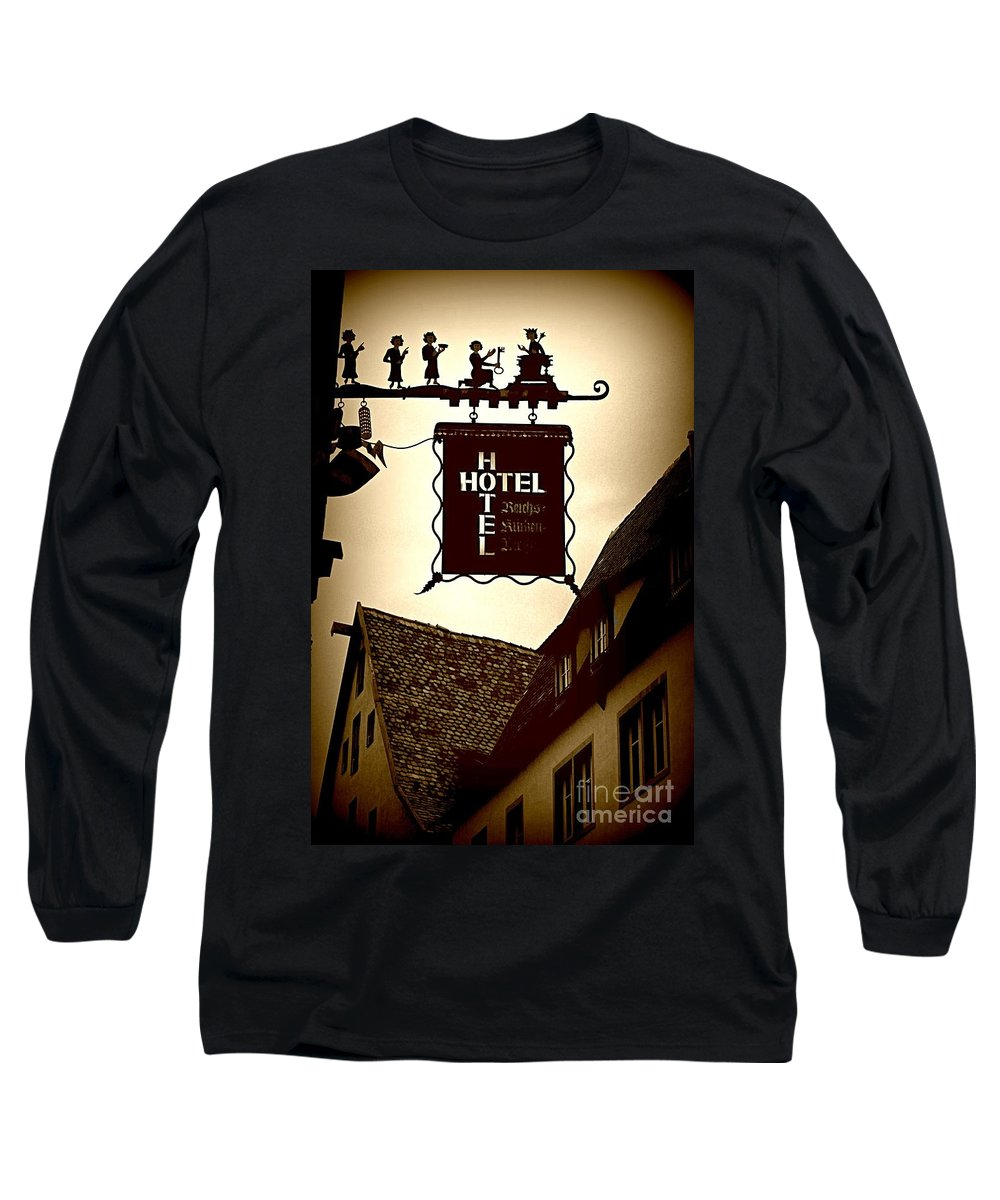Hotel Sign Long Sleeve T-Shirt featuring the photograph Rothenburg Hotel Sign - Digital by Carol Groenen