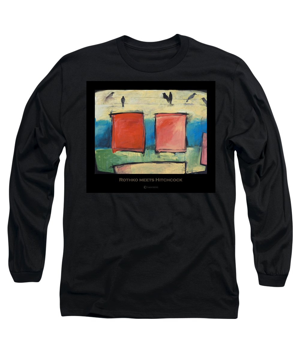 Rothko Long Sleeve T-Shirt featuring the painting Rothko Meets Hitchcock - Poster by Tim Nyberg
