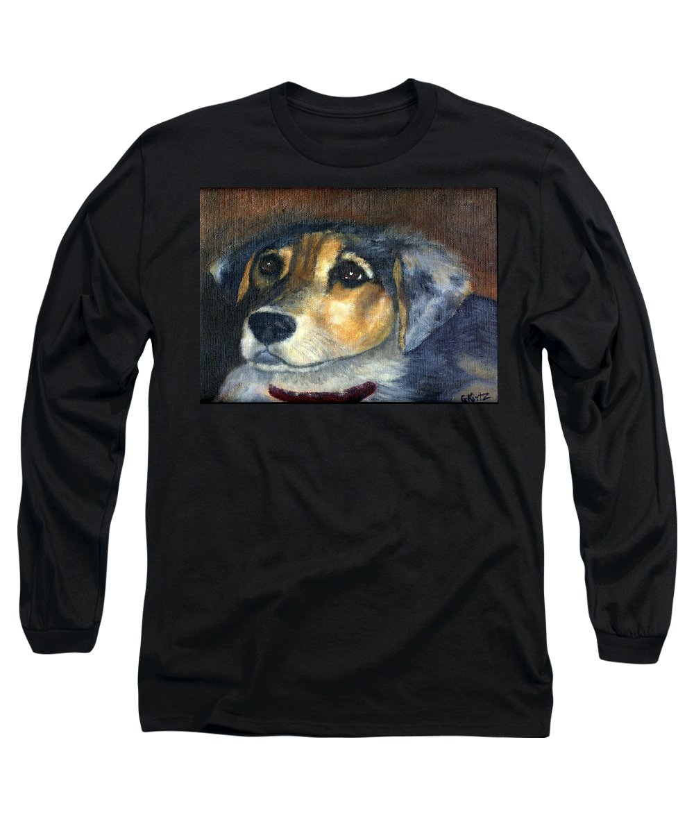 Dog Long Sleeve T-Shirt featuring the painting Roxie by Gail Kirtz
