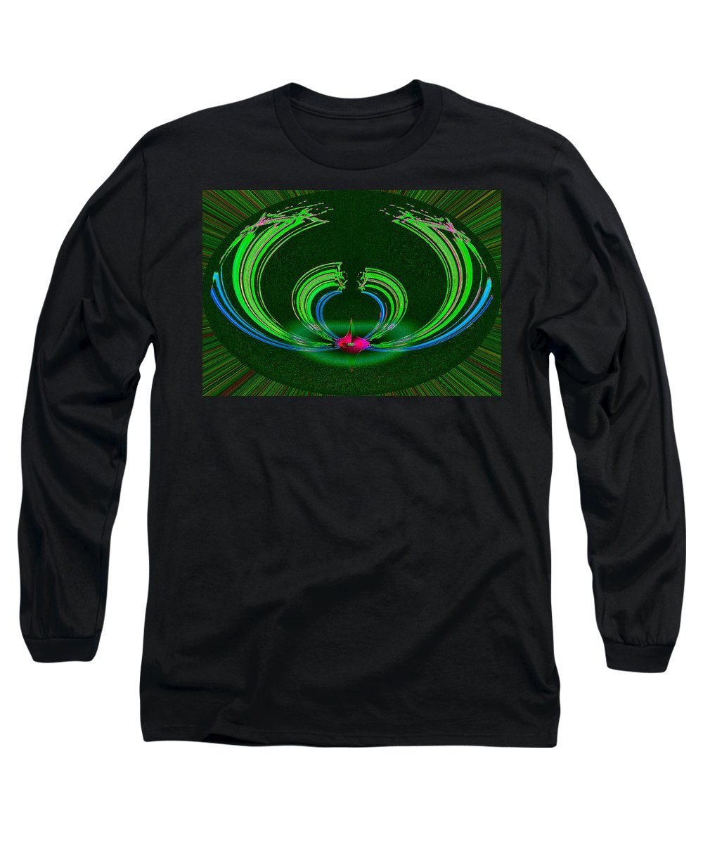 Ruby Long Sleeve T-Shirt featuring the digital art Ruby Singularity In Emerald Sapphire Nest by Don Quackenbush