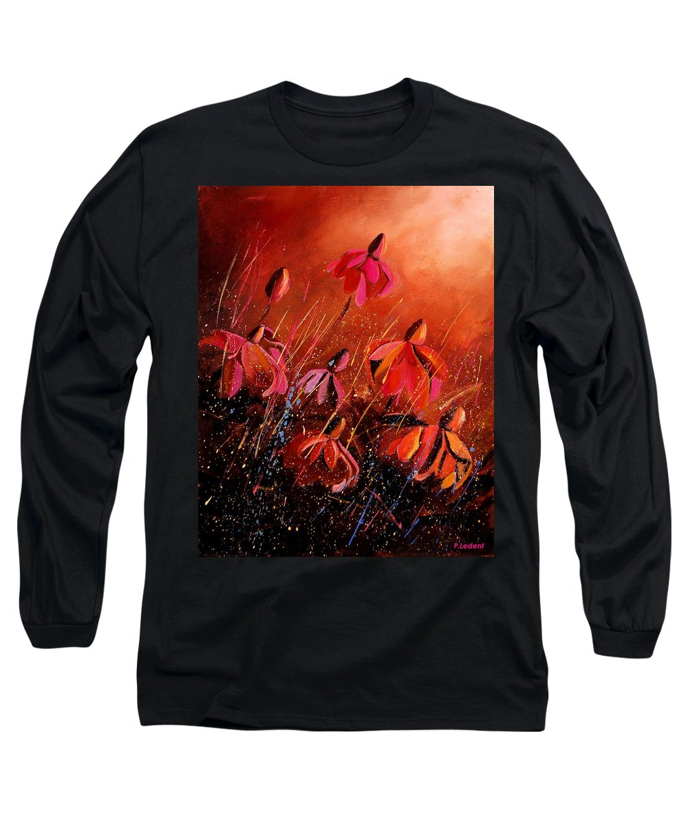 Poppies Long Sleeve T-Shirt featuring the painting Rudbeckia's 45 by Pol Ledent