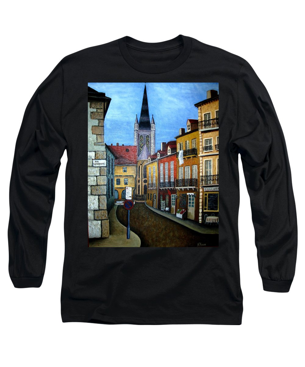 Street Scene Long Sleeve T-Shirt featuring the painting Rue Lamonnoye In Dijon France by Nancy Mueller