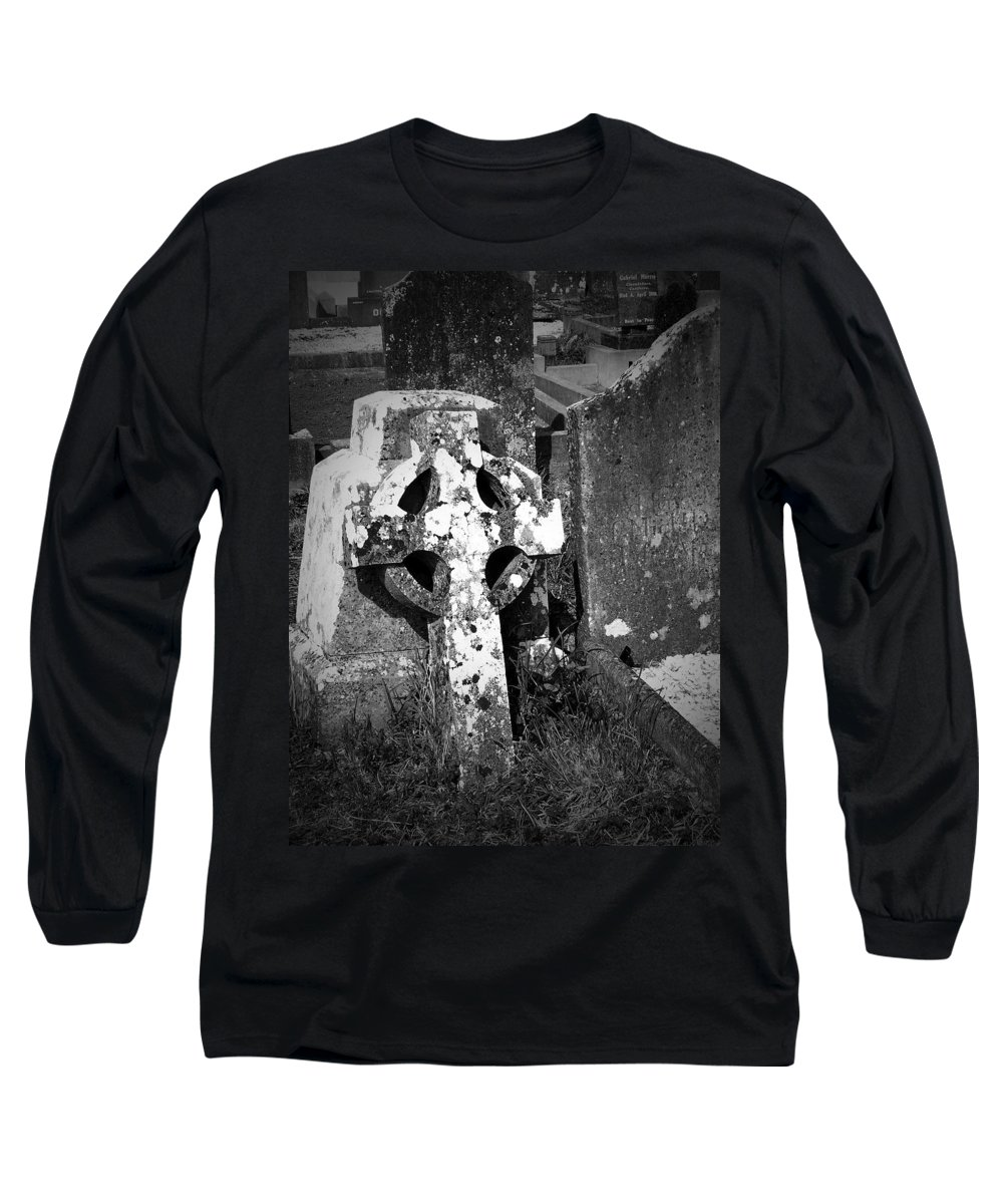 Celtic Long Sleeve T-Shirt featuring the photograph Rugged Cross At Fuerty Cemetery Roscommon Ireland by Teresa Mucha