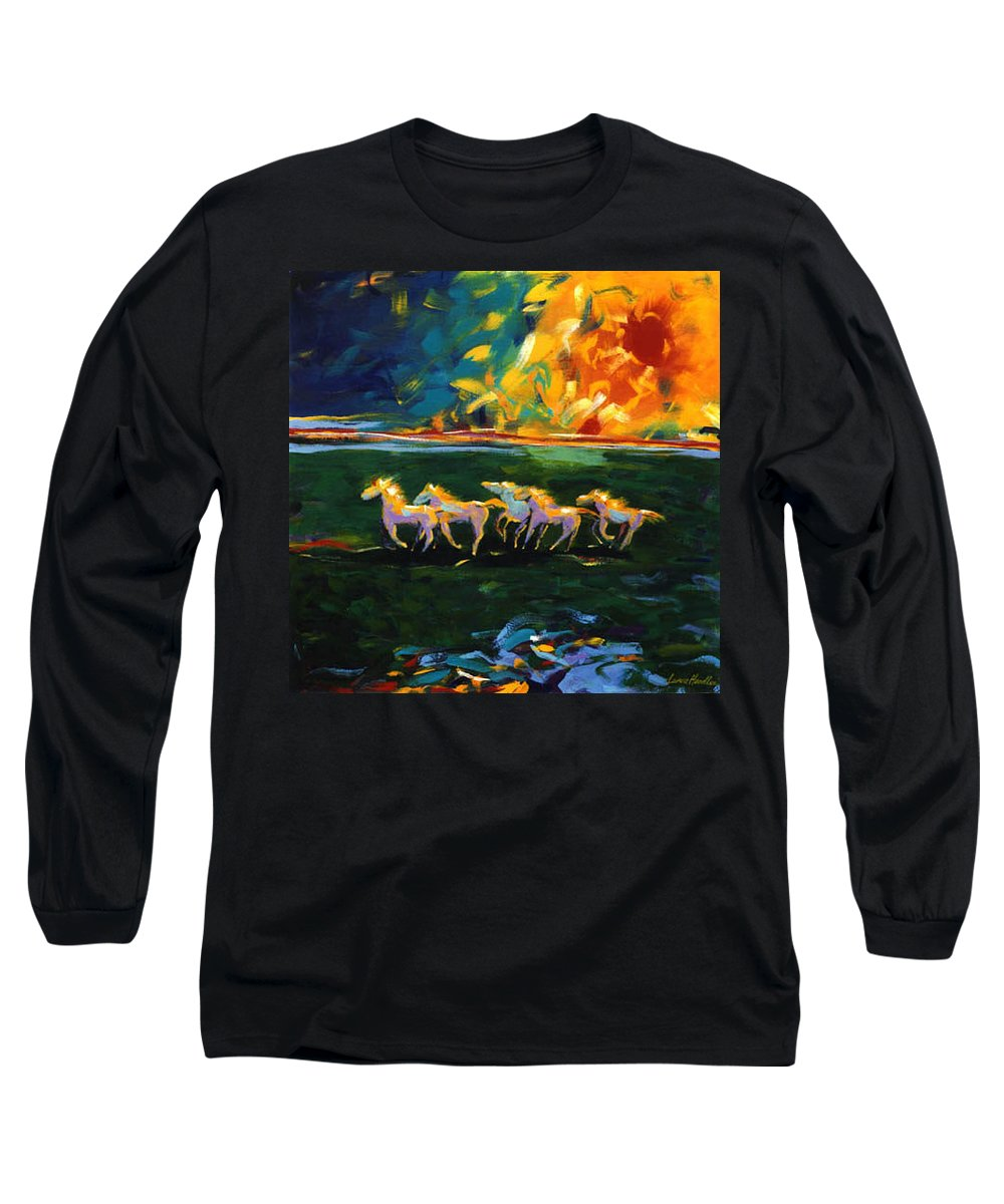 Abstract Horse Long Sleeve T-Shirt featuring the painting Run From The Sun by Lance Headlee