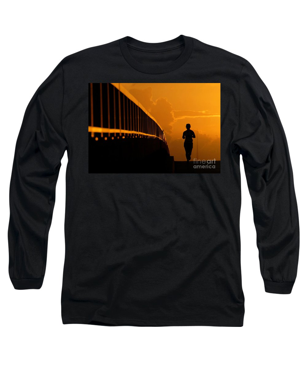 Running Long Sleeve T-Shirt featuring the photograph Running Girl by David Lee Thompson