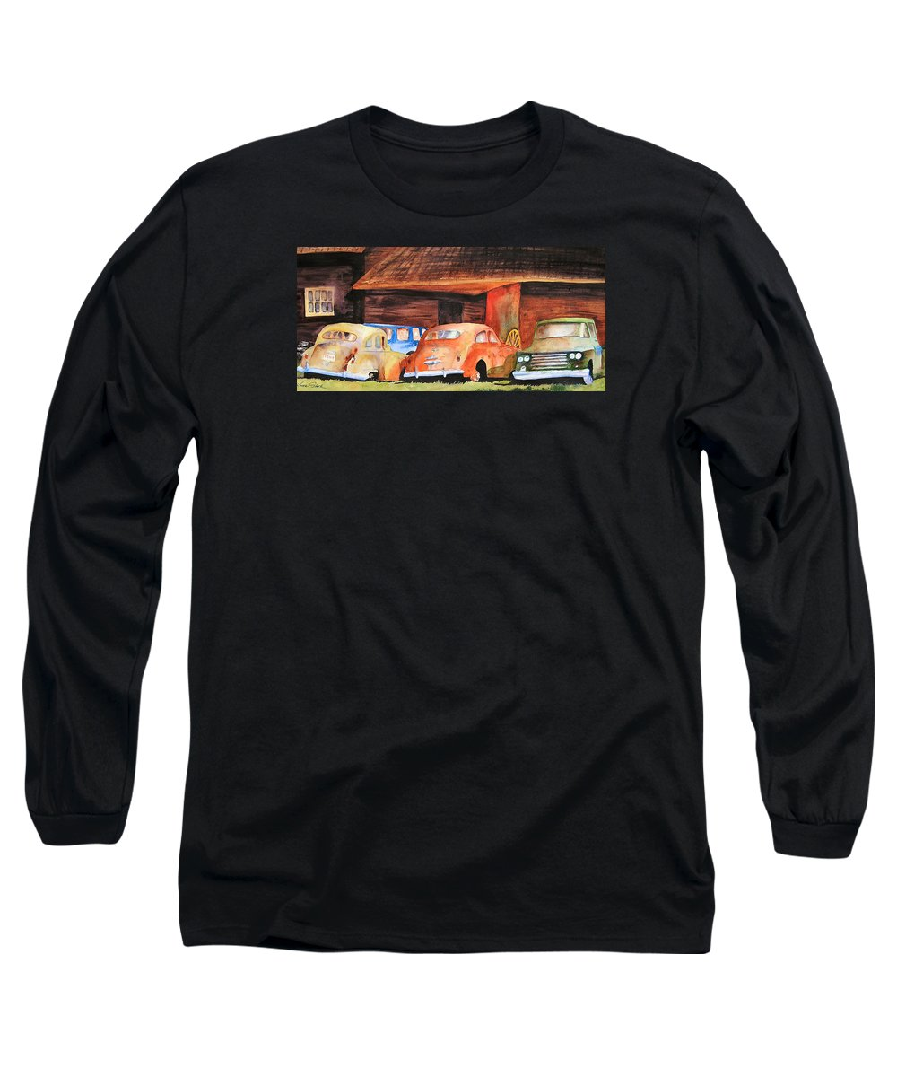 Car Long Sleeve T-Shirt featuring the painting Rusting by Karen Stark