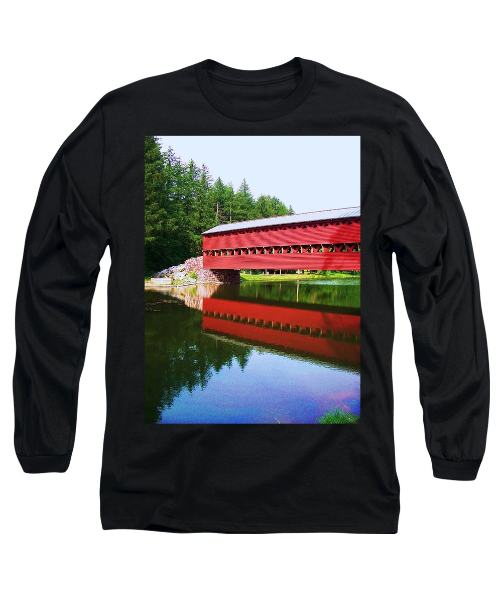 Sachs Bridge Long Sleeve T-Shirt featuring the painting Sachs Bridge by Eric Schiabor