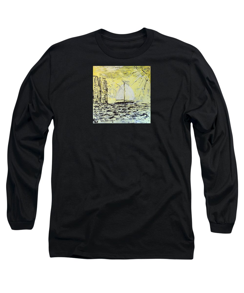 Abstract Long Sleeve T-Shirt featuring the painting Sail And Sunrays by J R Seymour