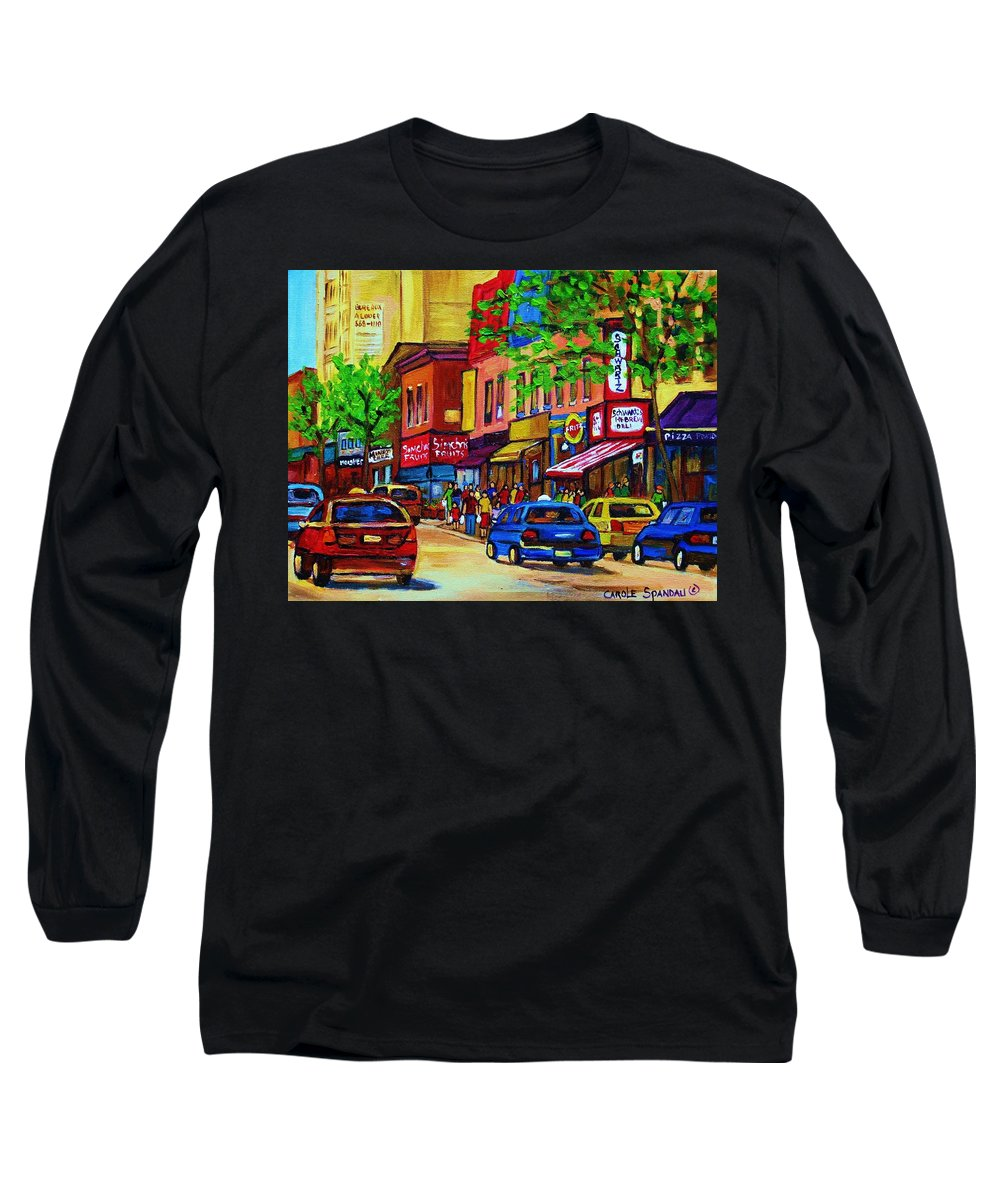 Cityscape Long Sleeve T-Shirt featuring the painting Saint Lawrence Street by Carole Spandau